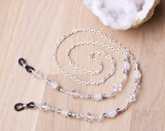 Glasses chain - White agate twinkle silver eyeglasses neck chain | spectacle cord | sunglasses holder | beaded gemstone glasses chain
