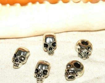 X 5 hole skull European beads on the side Tibetan silver nickel free