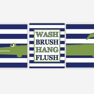 Alligator Kids Bath Wall Art Green Navy Blue Wash Brush Hang Flush Bathroom  Rules Alligator Bath