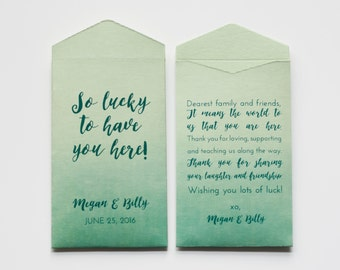 Custom Green Lottery Ticket Wedding Favor Packet Envelopes - Many Colors Available