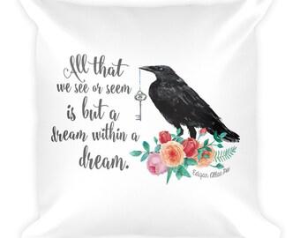 Edgar Allen Poe Square Pillow