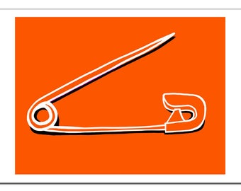 Safety Pin Illustration-Pop Art Print