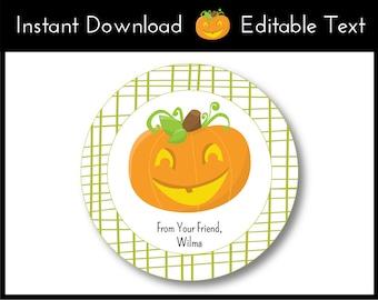 Halloween Favor Tags, Halloween Tags, Pumpkin Favor Tags, Pumpkin Tags, Jack O'Lantern Favor Tags, Pumpkin Labels Instant Download, Editable
