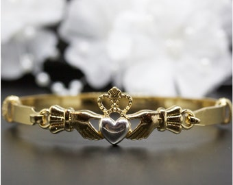 Friendship, Love Claddagh Heart Gold Bangle Bracelet, Gold-Tone Bangle Bracelet, Thank You Gift, Birthday Gift | #G003
