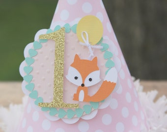 fox party hat, photo prop hat, paper party hat, woodland party hat, 1st birthday, first birthday party, fox themed party, fancy party hat