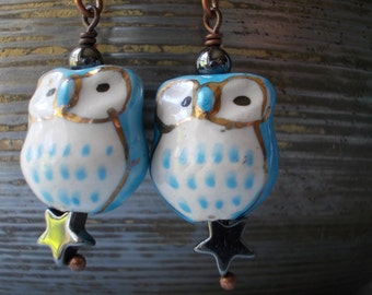 Blue Owl Earrings, with pyrite star, stone ceramic glass bead, dangle earrings for women, antiqued copper, forest cute blue gold night bird