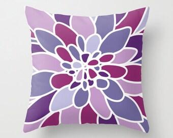 Purple Violet Dahlia Flower Pillow Cover // Modern Home Decor // includes insert