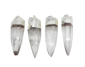 Crystal Quartz Spike Pendant -- Large Crystal Spike with Electroplated Silver Cap and Bail (S95B19-04)