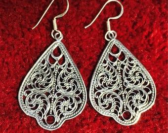 925 Sterling Silver Filigree Earrings Drop dangle earrings