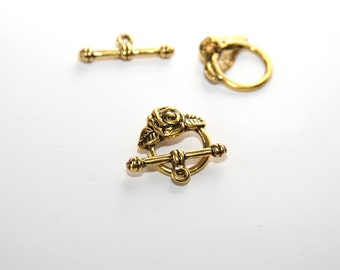 5 Sets Toggle Clasps / Toggle and Pin Clasp Set / color: gold / 18x19mm   VS089