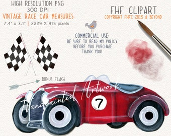 Vintage Retro RACE CAR Clip Art | Racecar Digital Clipart | hand-painted | Personal & Commercial Use | For use in invitations, boys wall art