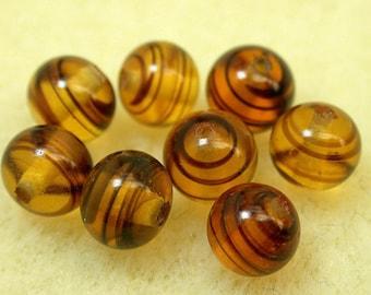 Vintage Japanese GLASS BEADS Amber Striped 6mm pkg8 gl56