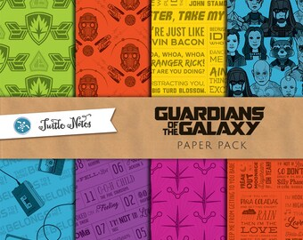 Guardians of the Galaxy Paper Pack : 48 Printable Digital Scrapbook Papers
