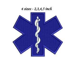 Paramedic Embroidery Design - Machine Embroidery - Emergency Medical Services Logo - Star Of Life Embroidery EMT