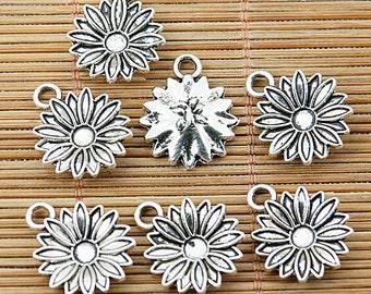20pcs tibetan silver color flower design charms EF1438