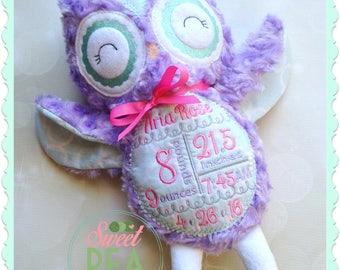 Personalized owl etsy personalized owl stuffie stuffed animal monogram owl plush owl personalized baby gift negle Choice Image