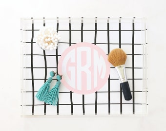 Monogram Acrylic Tray Personalized Lucite Tray Hand Drawn Black White Stripe Vanity Tray Acrylic Jewelry Tray Makeup Tray Bridesmaid Gifts