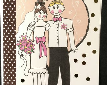 Congrats on your marriage card, Just married card, Wedding Card Retro Art Card
