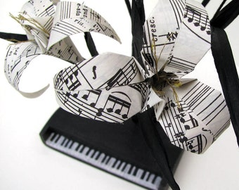 Beethoven's Piano Ikebana Origami Sculpture by Paper Disciple and Tanja Sova
