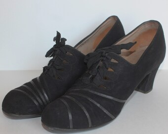 1940's CC41 Wartime Black Suede and Leather Styleez Lace Up Shoes - UK Size 5
