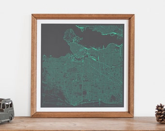 VANCOUVER MAP - Customizable Colors, Vancouver Walll Art, City Map Poster, Condo Home Decor