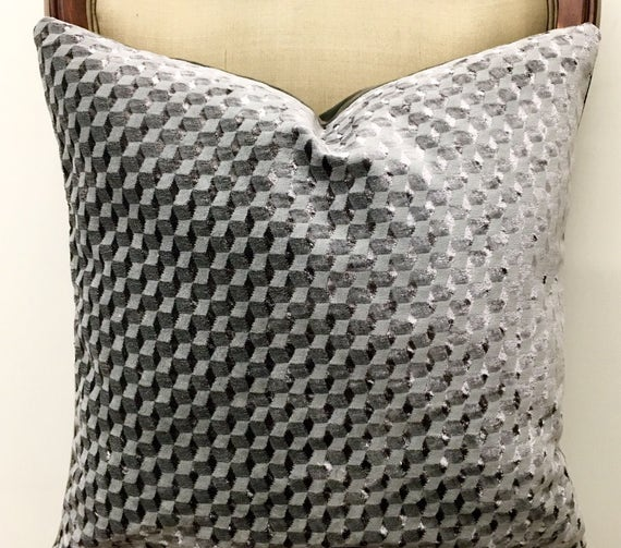 gray products with on metallic couched avery velvet pillow applique trim
