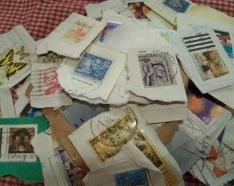 vintage  used stamps collectible mostly Canadian random assortment