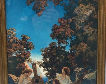 Vintage MAXFIELD PARRISH Original INTERLUDE The Lute Players Framed Print 16x13