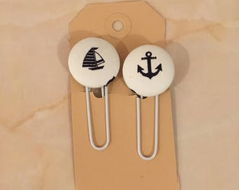 Set of 2 nautical planner clips, boat planner clips, pagemarker, planner clips, planner supply, paperclips,