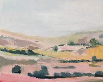 ORIGINAL landscape painting pink and yellow desert landscape 20x20 square landscape contemporary art blush pink pamela munger