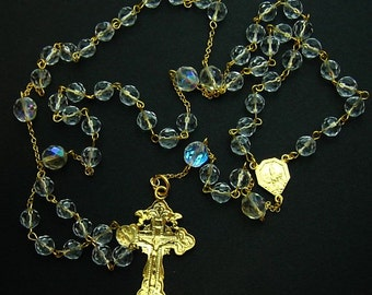 Catholic Chain Rosary Gold Vermeil and Vintage Bohemian Crystal