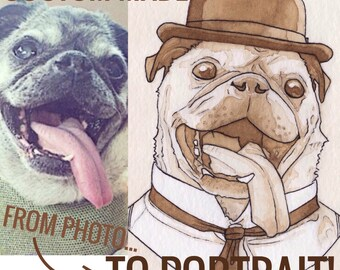 Custom Made: Coffee-Painted Victorian Pet Portrait