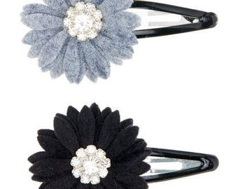Black and Gray Rhinestone Flower Clips