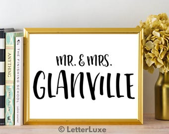 Mr. & Mrs. Glanville - Bachelorette Party Decoration - Wedding Printable Art - Last Name Home Decor - Surname Bridal Shower Gift