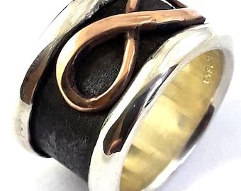 18k Gold pl Oxidized Wedding Band