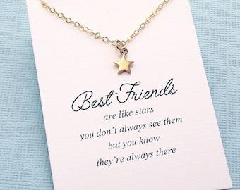 Best Friend Gift | Star Necklace, Friendship Necklace, Best Friend Necklace, Friends Friendship Gift, Best Friend Birthday Gift, Sister |F08