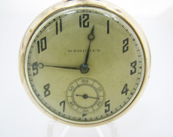 a470 Vintage 1918 Hampden Pocket Watch - Gold Filled