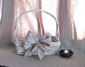 FARMHOUSE Fresh BASKET with Burlap and Lace Bow for Home or Wedding / Reception Decor / Program Basket / Favor Basket