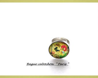 Fancy ring, fancy, in silver metal, with cabochon in glass Paris Tour Eiffel Butterflies Flowers, color green pink blue yellow