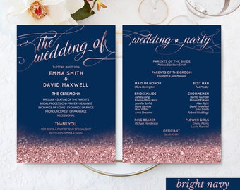 Navy Wedding Decor Rose Gold Wedding Fan Program Printable Wedding Ceremony Program Navy Blush Wedding Program DIGITAL DOWNLOAD 5x7""