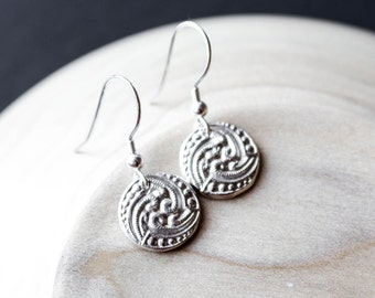 Small circle PMC Earrings Fine Silver , Pure silver Textured Silver , Minimalist earrings