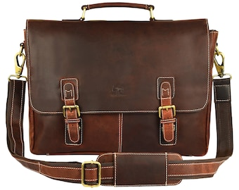 15 Inch Leather Messenger Bag Cross Body Satchel Bag Gift Men Women Laptop Bag Father's Day Gift,Gift For Dad