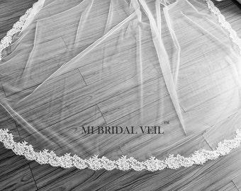 Eyelash Lace Veil, Lace Wedding Veil, Cathedral Veil Lace from Midway, Custom Veil, Mi Bridal Veil