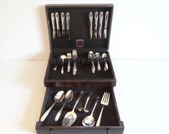 """1955 Wm Rogers """"Tupperware Rose""""  Piece Silverplate Flatware Set with Naken Box - 48 Piece Service for 8 - 5 Piece Place Setting + 7 Serving"""