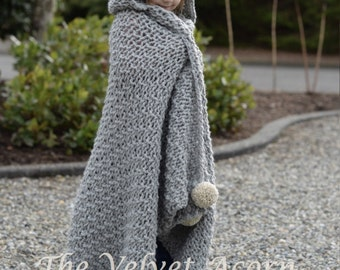 KNITTING PATTERN - Benton Hooded Blanket (x-small, small, medium, large and x-large sizes)