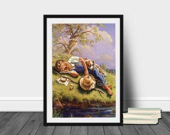 Boy's Room Art Print, Dog Art Print, Nursery Art Print, Family Room Art, Kitchen Art, Guest Room Art,  Restored Art Print #478