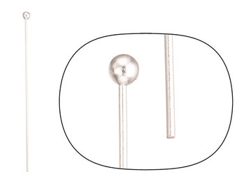 100pcs 24ga silver-plated ball pin 1.6inch with 2mm ball