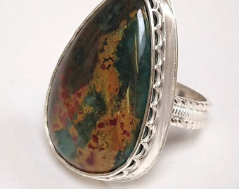 Sterling silver handmade chunky statement  bloodstone ring, hallmarked in Edinburgh