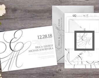 Wedding Invitations - DEPOSIT TO START Elegant Initials - Custom Wedding Invites - Personalized Wedding Invitation Suites - #wdi-257