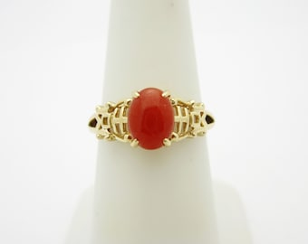 Antique 14K Solid Gold 1.50 ct Carnellian Embellished Ring | Size 7